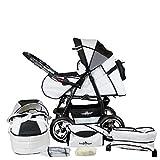 Bergsteiger Rio Kombikinderwagen + Softtragetasche + Wickeltasche (10 - Teile); Farbe: Black & White