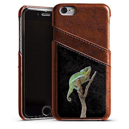 Apple iPhone 5s Housse Étui Protection Coque Caméléon Saurien Branche Étui en cuir marron