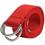 Chen Rui (TM) Cinturón Casual Ajustable de Lona con Hebilla de Doble D anillo para Hombres y...