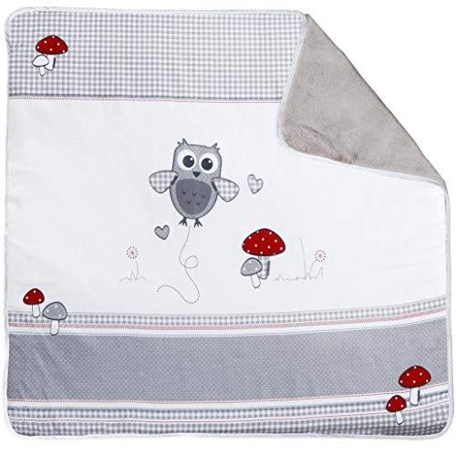 & Eule', Decke zum Kuscheln, Krabbeln & Spielen, 2 seitig, 2 Funktionen: 1 x super weich, warm & flauschig, mehrfarbig ()