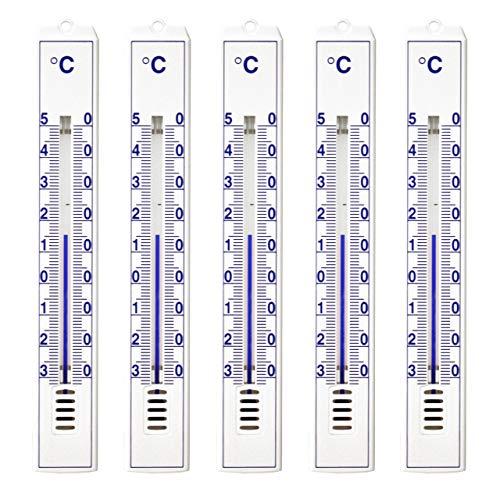 Lantelme 3297 Pack de 5 thermomètres analogiques intérieur / extérieur / jardin - en plastique - Blanc