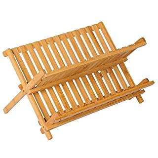 WOLTU KZ06 Dish Drainer Dish Draining Rack BTH 45 x 32.5 x 24.9 cm, Bamboo Foldable for Plates and Cups, Natural