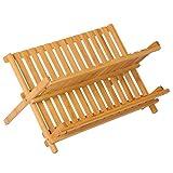 WOLTU KZ06 Abtropfgestell Geschirrständer Abtropfständer BTH 45x32.5x24.9cm, Bambus klappbar, für Teller und Tassen, natur