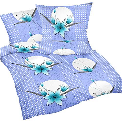 Heubergshop 2-teilige Seersucker Bettwäsche 135x200cm + 80x80cm - Blumen Orchideen in Hellblau - Bettgarnitur aus 100% Baumwolle, bügelfrei (S-340/2)