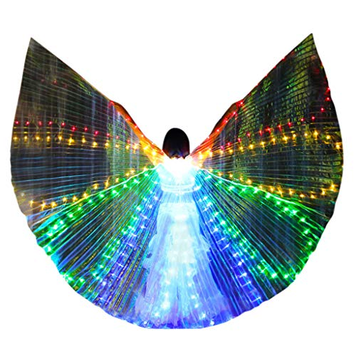 Dasongff LED Bauchtänzerin Isis Flügel Halloween spaß Darstellende Künste,Einschließlich Stöcke/Ruten für Bühnen Weihnachten Cosplay Party Maskenspiel (Leicht Kostüme Halloween Machen, Zu)