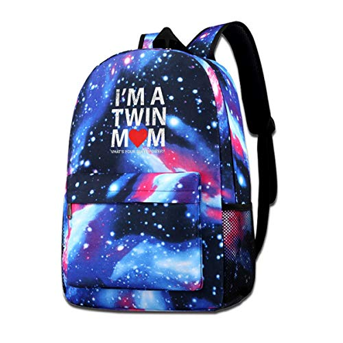 Funny I'm Twin Mom What's Your Superpower Mother Galaxy Backpacks Fashion Bags Casual Daypacks for School Travel Business Shopping Work -