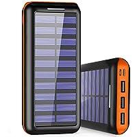Externer Akku PLOCHY 24000mAh Solar Powerbank, Solar Ladegerät mit 3 Ausgänge und Lighting & Micro Dual Input Power Bank Handy für iPhone, iPad, Samsung Galaxy und andere Smartphones(Orange)