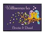 Klebefieber Wunschtext-Fußmatte Vogel-Pärchen B x H: 70cm x 50cm