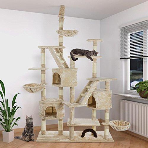 Produktabbildung von HAPPYPET Kratzbaum Katzenbaum deckenhoch höhenverstellbar 260cm Sisalstamm 8cm BEIGE
