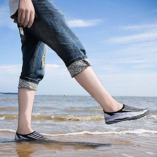 Hellomiko Moda Hombre Y Mujer Zapatillas De Deporte Al Aire Libre Zapato De Agua Par Zapato De Agua Secado Rápido Natación, Gimnasia, Mar, Yoga, Playa, Remo, Conducción, Negro + Blanco
