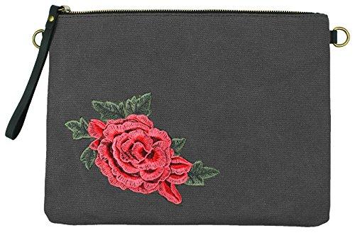 Mevina Damen Clutch Rosen Patches kleine Tasche Aufnäher Patch Canvas Tasche Umhängetasche viele Farben