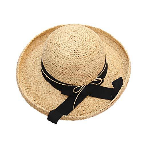 Strohhut Outdoor Seaside Urlaub Crimpen Stitching Strohhut Sommer Tragbare Faltbarer Hut Für Frauen Große Floppy Cap 50 + UPF Sonnenhut Sonnenhut Panamahut (Farbe : One Color, Größe : 56-58cm) -
