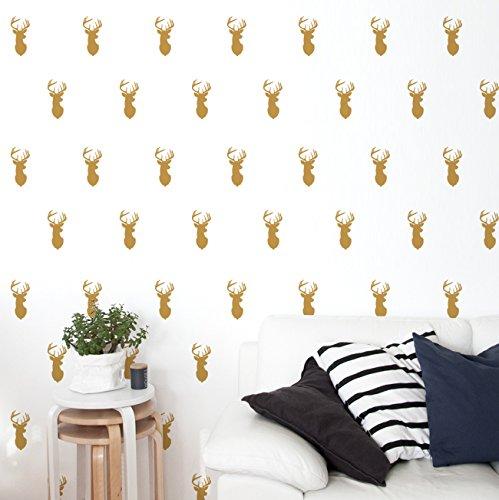 ideavinilo-walldeco-cabezas-de-ciervos-color-dorado-medidas-110x50cm