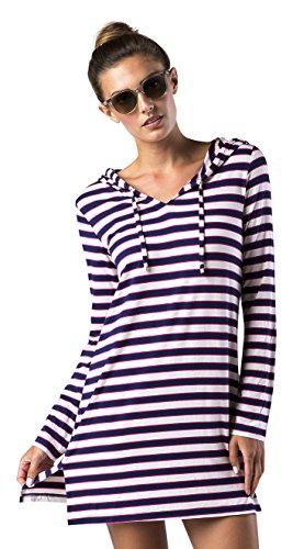 Mott 50 Damen Nancy Hooded Cover-up, Damen, Fuchsia Stripe, M (Up Cover Hooded)