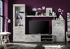 trendteam rd94768 wohnzimmerschrank wohnwand anbauwand canyon pinie shabby chic dekor bxhxt. Black Bedroom Furniture Sets. Home Design Ideas