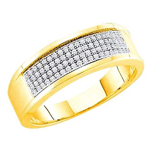 Rings-midwestjewellery. com uomo 1/4cttw diamante fede nuziale in oro giallo 10k 7mm di larghezza (i/j color 0.25cttw)