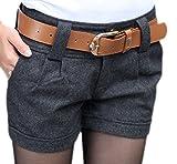 Vian Lundgaard - Damen Frauen Kurze Stoffhose Short mit Gürtel, 32, Grau