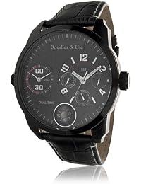 Boudier & Cie Herren World Timer Kingsize Collection Automatik Armbanduhr mit multifunktionalem Zifferblatt - Analoge Anzeige - Echtlederarmband Gehäuse aus Edelstahl Größe XL - OZG1065