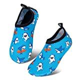 Kids Beach Swim Shoes Infant Water Shoes Toddler Barefoot Skin Baby Boys Girls Aqua Socks for Pool Garden, WZSX kid-Shark-18/19EU, Grigio