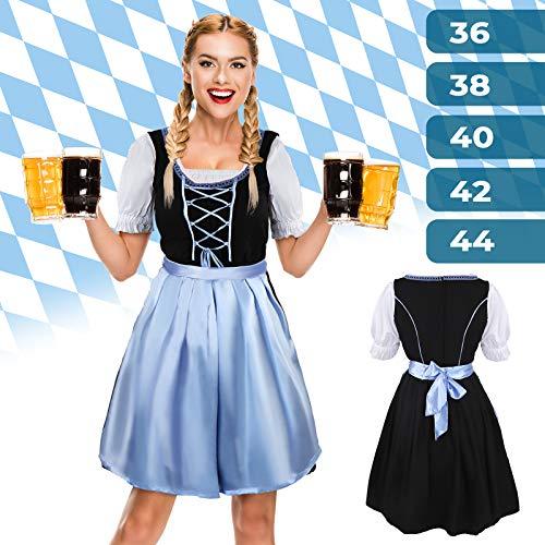 Jago Damen Trachtenkleid für Oktoberfest | Größe: 36-44, Polyester und Baumwolle | Dirndl Traditionelle, Spitzen Kleid, Bluse & Schürze (Günstige Kostüm Mädchen)