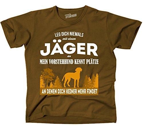 Siviwonder Unisex T-Shirt JÄGER VORSTEHHUND JAGDHUND Hund kennt Plätze niemand findet BROWN Brown