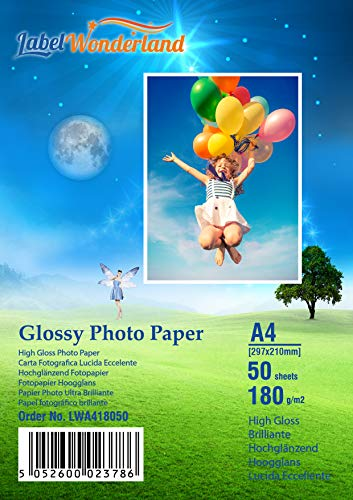 50 fogli di carta fotografica lucida per stampanti laser e a getto d'inchiostro, 180 g/m², LW A4-50 Sheets