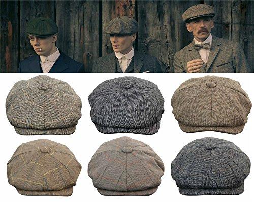 Casquette béret homme tweed carreaux style Peaky Blinders chapeau grand père