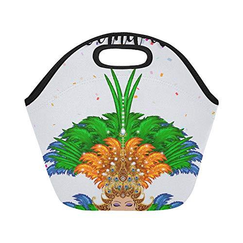 Isolierte Neopren-Lunchtasche für Karneval, Tanzendes Mädchen in Kostüm von Rio De Janei Große Größe, wiederverwendbar, Thermo-dick, Lunchboxen für Outdoor, Arbeit, Büro, ()