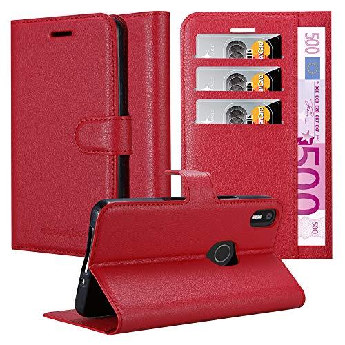 Cadorabo Hülle für BQ Aquaris X5 Plus - Hülle in Karmin ROT - Handyhülle mit Kartenfach & Standfunktion - Case Cover Schutzhülle Etui Tasche Book Klapp Style