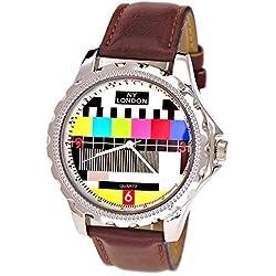 NY London designer Error Testbild Fernseher Unisex Damen Herren Leder Armband Uhr Braun inkl.Uhrenbox