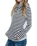 ASSKDAN Damen Gestreift Pulli Sweatshirts Hoodie Sport Langarm Reißverschluss Pullover Outerwear (EU 38/M, Dunkelblau)