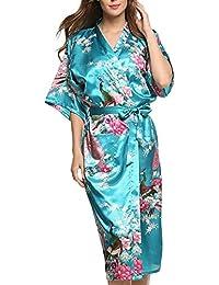 Dolamen Mujer Albornoz Vestido Kimono Satén, Camisón para mujer, Pavo & Flores Robe Albornoz Dama de honor Ropa de dormir Pijama, Estilo largo