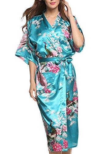 Dolamen Damen Morgenmantel Kimono, glatte Satin Nachtwäsche Bademantel Robe mit Peacock und Blume Kimono Negligee Seidenrobe locker Schlafanzug, Langer Stil (Small, LakeBlue)