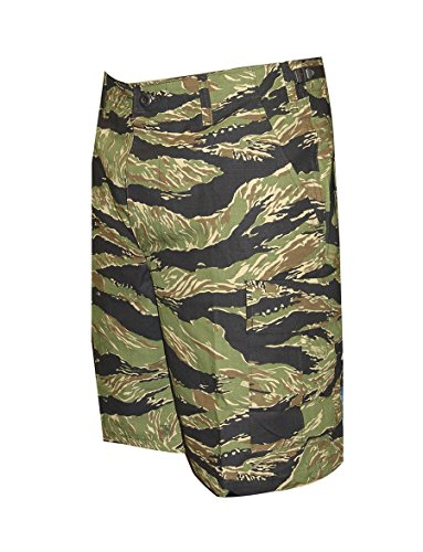 Tru-Spec Herren BDU Reißverschluss Fly Shorts, Herren, BDU Zipper Fly Shorts, Original Vietnam Tiger Stripe, L/Regular -