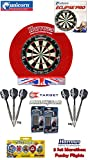 UNICORN Eclipse Pro Dartboard/Dartscheibe + Harrows Surround für Dartboards + 2 Set TARGET Phil Taylor Darts + Abwurflinie + 5er Set Flights