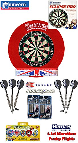 #UNICORN Eclipse Pro Dartboard/Dartscheibe + Harrows Surround für Dartboards + 2 Set TARGET Phil Taylor Darts + Abwurflinie + 5er Set Flights#