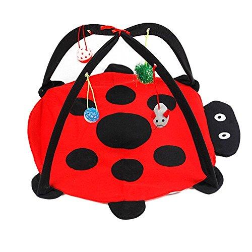 Gatto Topi Activity center con Hanging Toy Balls pieghevole Animale domestico attività di gioco Fleece Beatles Mat aiuta I gatti fare esercizio e Rimani attivo