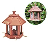 Spetebo Vogel Futterhaus aus Holz - Vogelhaus Futterstation - Futterstelle Vogelhäuschen