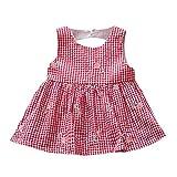 ❤️ Vestidos Niñas Fiestas Boda,Recién Nacido de Las Muchachas del Remiendo del Vestido de Tela Escocesa de la Playa del Vestido Floral Trajes de Ropa 0-24 Meses Absolute (12 Meses, Rosa)
