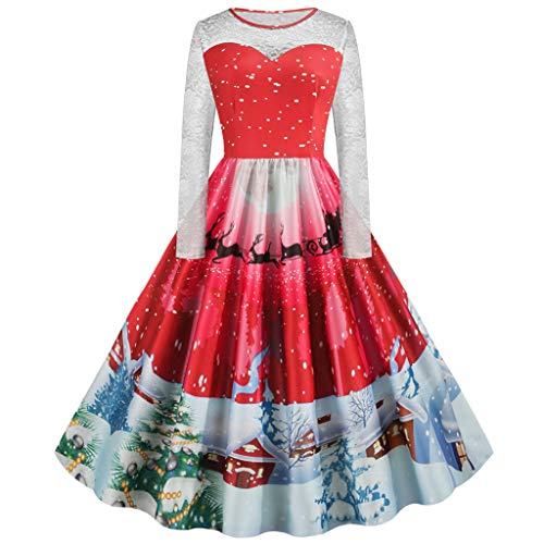 Frauen's Kostüm Girl Christmas - Damen Weihnachtskleid,BIKETAFUWY Weihnachten Party Kleider Christmas Elegant Kostüm VintageLangarm A-Linie Cocktail Kleid Mode Clubbing Karneval Eleganten Kleid Rock