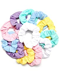 Pastel Scrunchies, 12 Count : Luxxii Fancy Pastel Colorful Scrunchies Ponytail Holder Elastic Hair Bands 3.5 Inch...