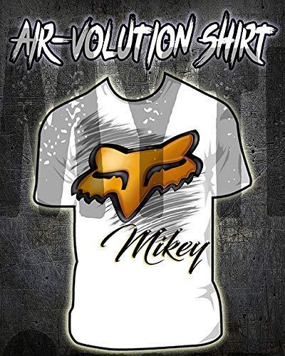 Mythic Airbrush Personalisierte Airbrushed Fox Hemd Kinder- / Erwachsen-Größen Weiß -
