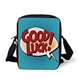 Going Away Party Decorations,Comic Book Pop Art Style Retro Speech Balloon Text,Light Blue Red Yellow Print Kids Crossbody Messenger Bag Purse