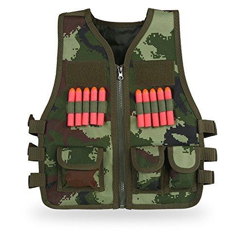 Taktische Weste Set + 10 Bullets für Kinder CS Feild Spiel(Camouflage) (Camouflage Weste Kinder)