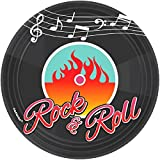 Amscan Nifty 50's Theme Party Rock und Roll Rund Dessertteller Geschirr, Papier, 17,8cm 8Stück