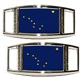 Alaska AK State Flagge Schuh Turnschuh Sneaker Trainer Schuhbändern Charm rechteckig Dekoration–Set von 2