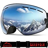 Ski Goggles For Men and Women, Anti-fog UV Protection Spherical REVO Mirror Lens  with Over Glasses OTG For Skiing Goggles and Snowboard By Mountain Master