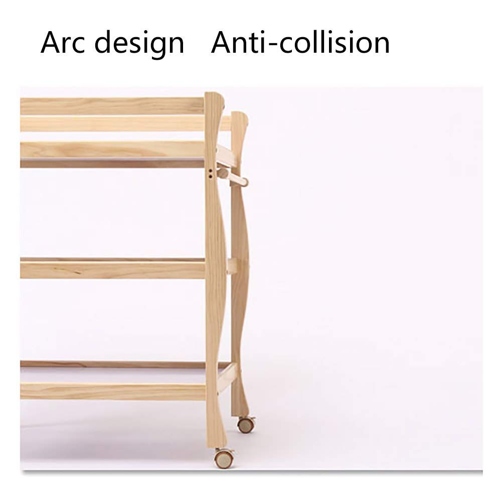 Children Changing Table with Casters Wooden, Diaper Storage Nursery Station with Pad for Newborn/Infant GUYUE Silent caster with brake. Safety rails enclose all four sides of the changing area Strong and sturdy wood construction: Pine + solid wood paint free board. 5