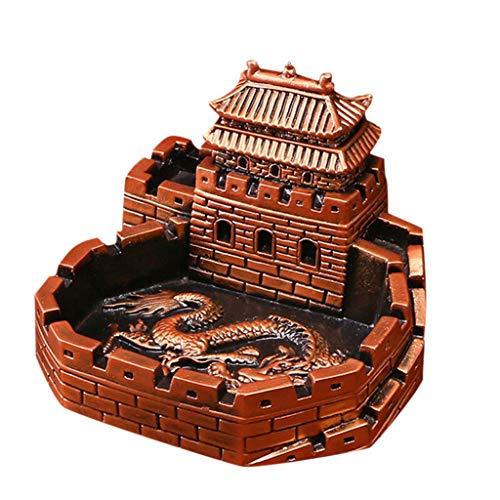 Cenicero, Creativo, Sala de Estar/Oficina, decoración para el hogar con Forma de dragón Chino, cenicero de cigarros, cenicero al Aire Libre (Plateado, marrón) (Color : Brown)