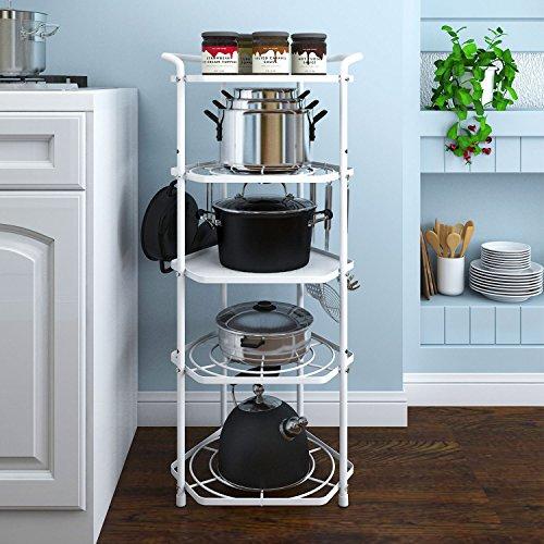 Lifewit 5 Tiers Cookware Stand Corner Shelf, Height Adjustable Metal Pot Rack Organizer Free Standing Shelf, Carbon Steel, White
